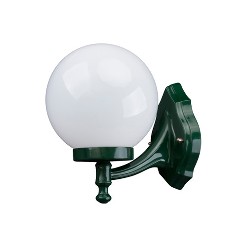 Sorrento Sphere Opal & Green Acrylic Curved Arm Outdoor Wall Light