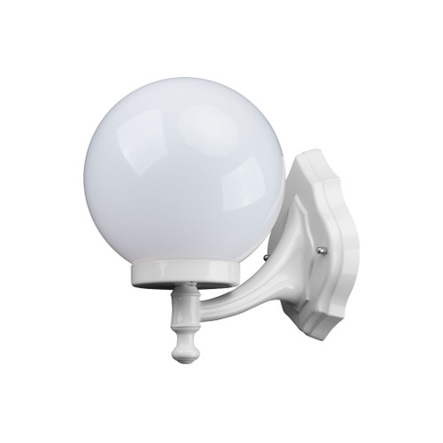 Sorrento Sphere Opal & White Acrylic Curved Arm Outdoor Wall Light