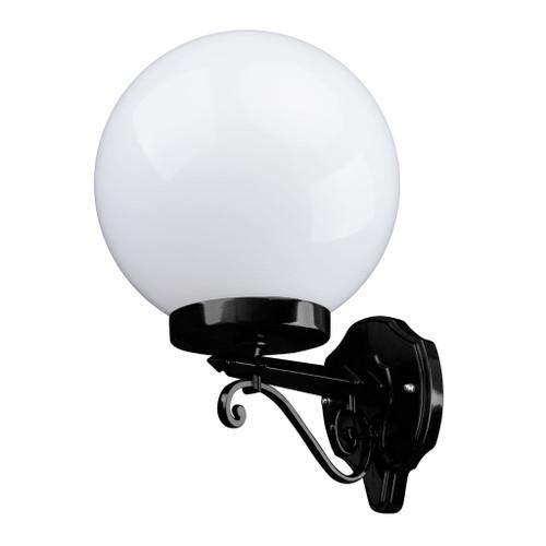 Sorrento Sphere Opal & Black Acrylic Straight Arm Outdoor Wall Light