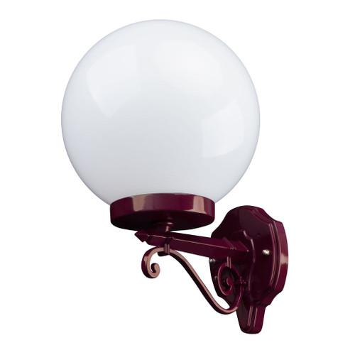 Sorrento Sphere Opal & Burgundy Acrylic Straight Arm Outdoor Wall Light