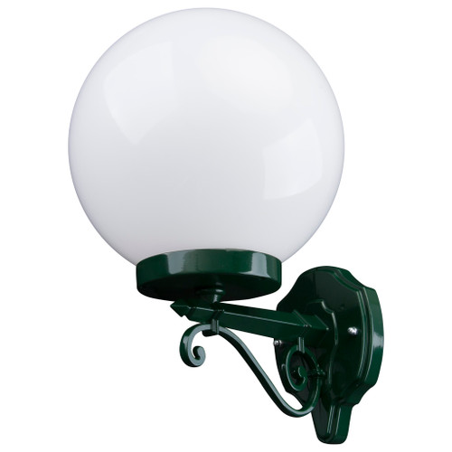 Sorrento Sphere Opal & Green Acrylic Straight Arm Outdoor Wall Light