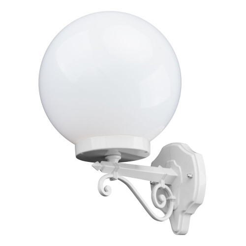 Sorrento Sphere Opal & White Acrylic Straight Arm Outdoor Wall Light