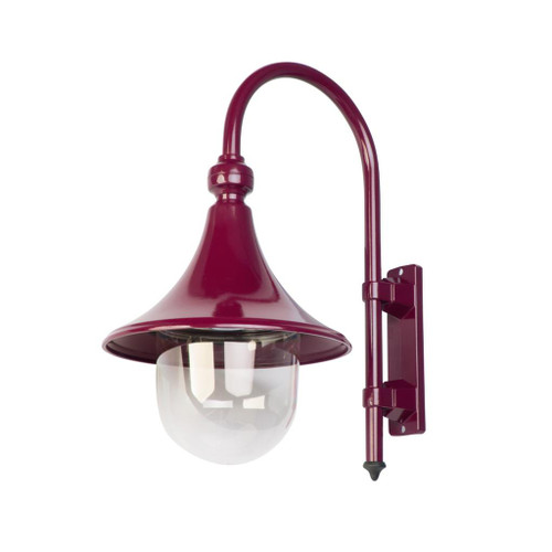 Moldova Moulded Acrylic Burgundy Curved Arm Outdoor Wall Light