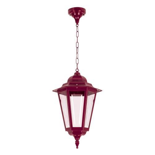 Tortona Acrylic Burgundy Lantern Outdoor Pendant Light - Large