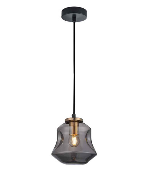 Dimpled Smoke Glass Brass Angled Bell Pendant Light