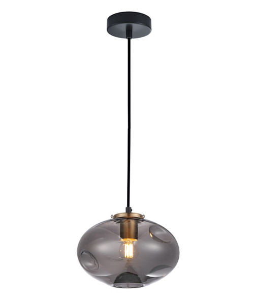 Dimpled Smoke Glass Brass Oval Pendant Light