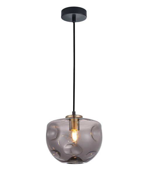 Dimpled Smoke Glass Brass Flat Top Dome Pendant Light