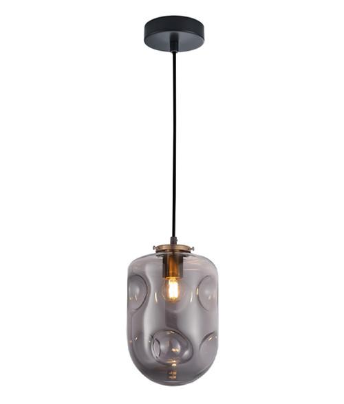 Dimpled Smoke Glass Brass Oblong Pendant Light