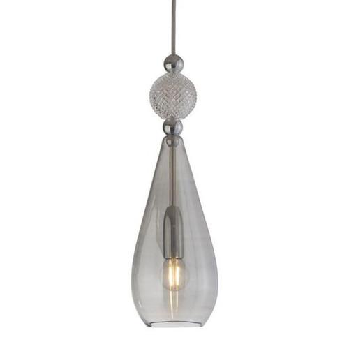 Smykke Drop Smokey Grey Glass with Crystal Ball Pendant Light