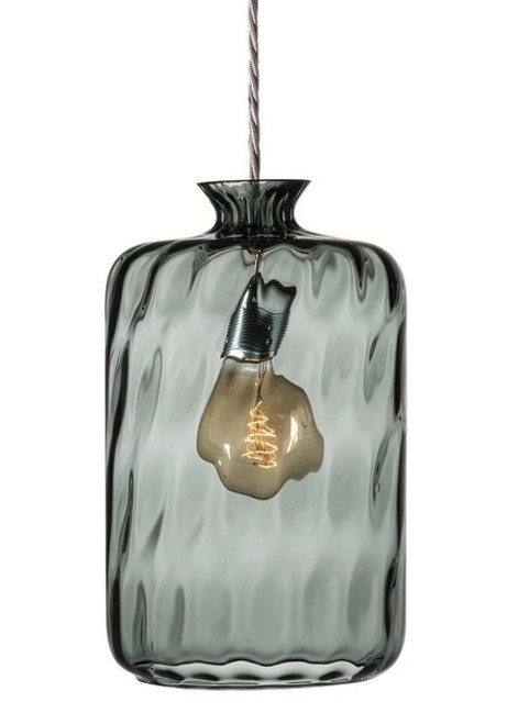 Pillar Cylindrical Smoke Grey and Silver Dimpled Glass Pendant Light