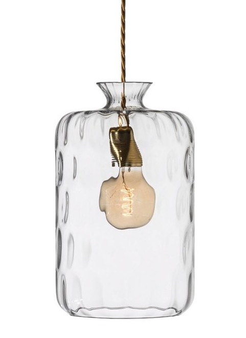 Pillar Cylindrical Clear and Brass Dimpled Glass Pendant Light
