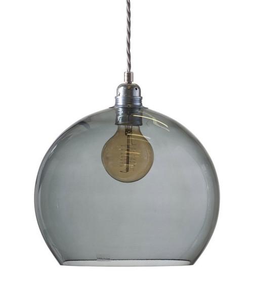 Rowan Dome Smokey Grey Glass Pendant Light