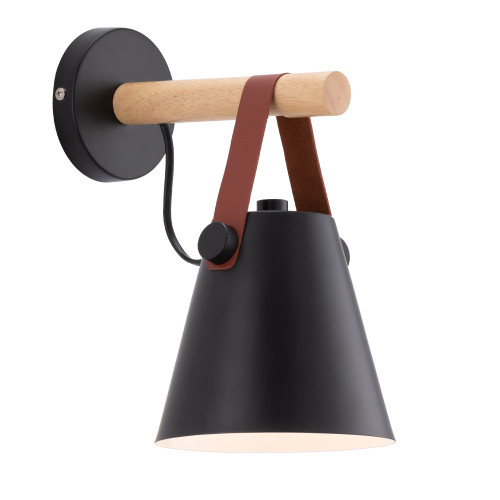 Bennet Black Retro with Timber Wall Light