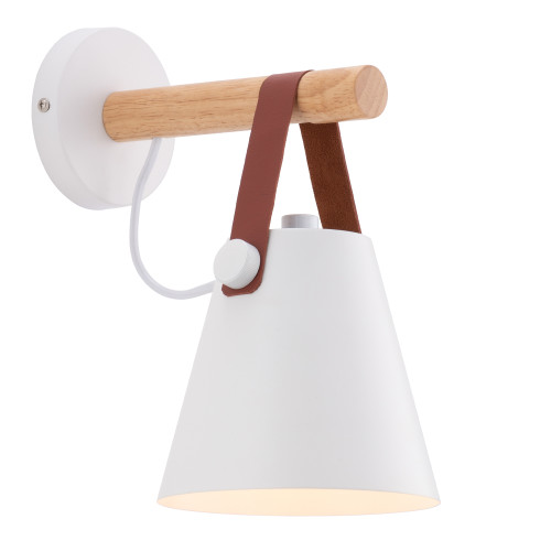 Bennet White Retro with Timber Wall Light