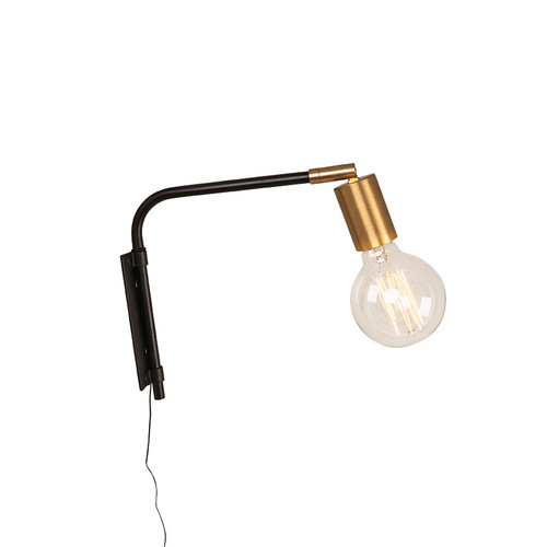 Flynn Small Black Brass Adjustable Wall Light