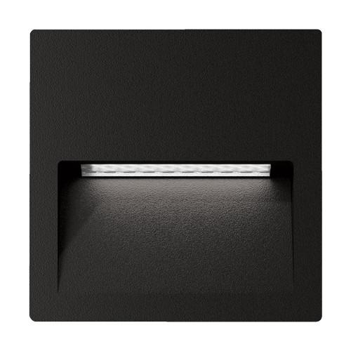Zeth Square Black 240V Recessed LED Step Light