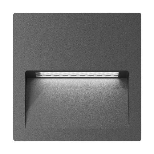 Zeth Square Dark Grey 240V Recessed LED Step Light