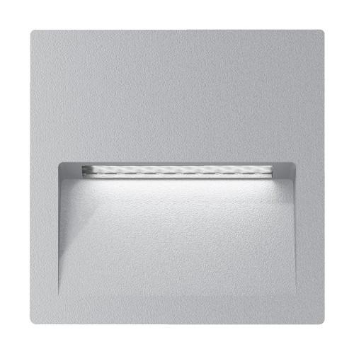 Zeth Square Silver 240V  Recessed LED Step Light