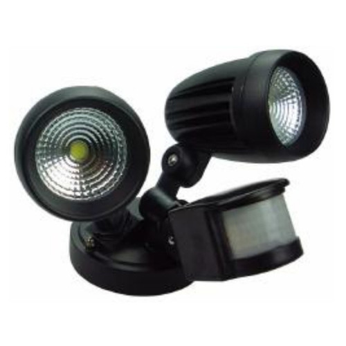 Mega Spot Twin Head Black LED Flood Security Light with Sensor