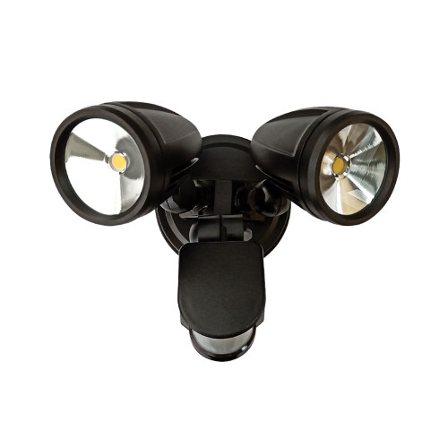 Cadet Black Twin Head LED Security Light with Sensor