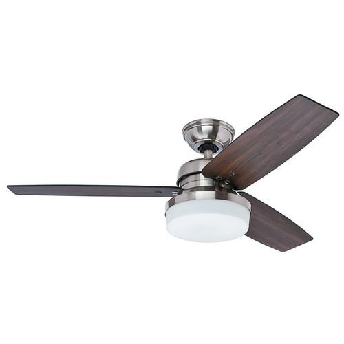 "Galileo 48"" Brushed Nickel with Dark Walnut/Dark Oak Switch Blades Ceiling Fan"