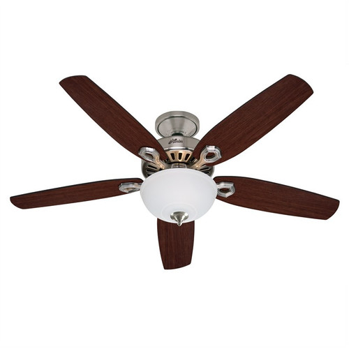 """Builder Deluxe 52"""" Brushed Nickel with Brazilian Cherry/Burnt Walnut Switch Blades Ceiling Fan"""