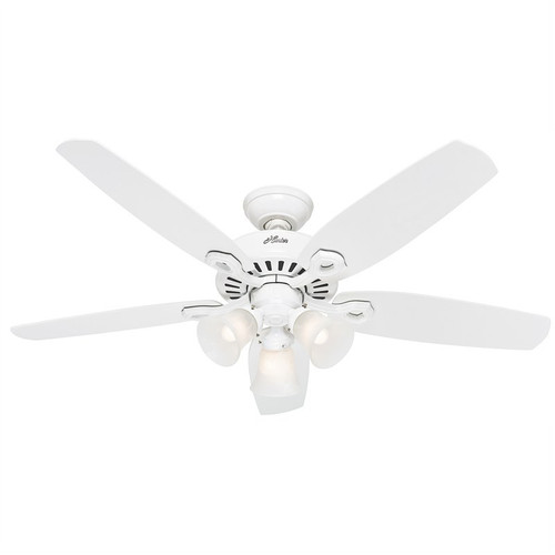 """Builder Plus 52"""" White with Snow White Blades Ceiling Fan"""