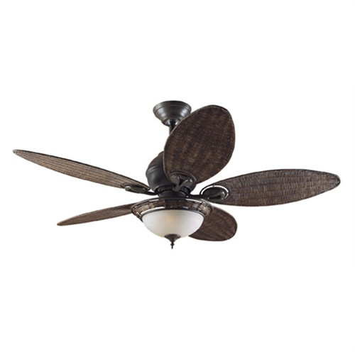 """Caribbean Breeze 54"""" Weathered Bronze with Antique Wicker Blades Ceiling Fan"""