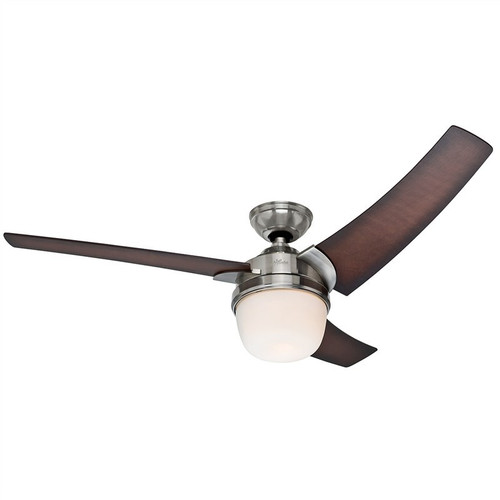 """Eurus 54"""" Brushed Nickel with Coffee Beech Blades Ceiling Fan"""
