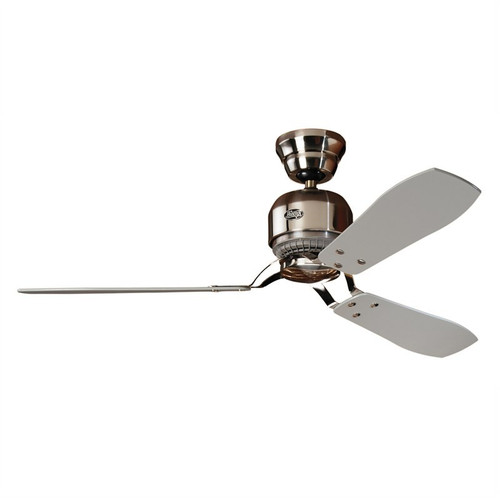 """Industrie II 52"""" Brushed Chrome with Grey/Teak Blades Ceiling Fan"""