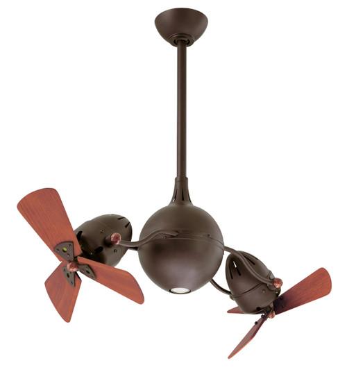 "Aqua 16"" AC Textured Bronze Wooden Blades Ceiling Fan"