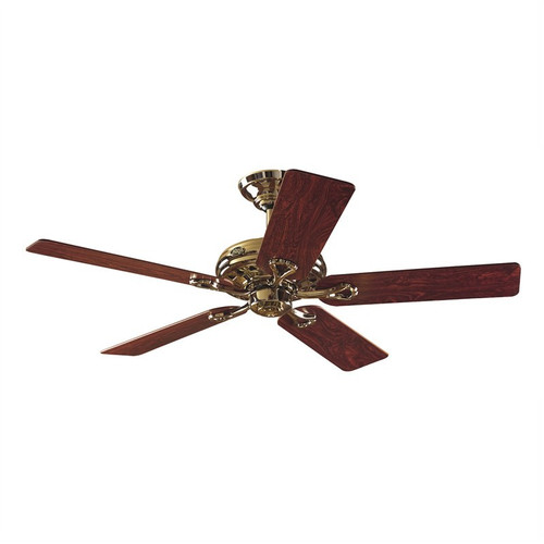 """Savoy 52"""" Bright Brass with Rosewood/Oak Blades Ceiling Fan"""