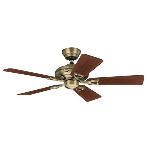 """Seville II 44"""" Antique Brass with Walnut/Medium Oak Blades Ceiling Fan"""
