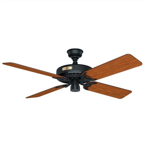"Hunter Original 52"" Black with Cherry/Walnut Blades Outdoor Ceiling Fan"
