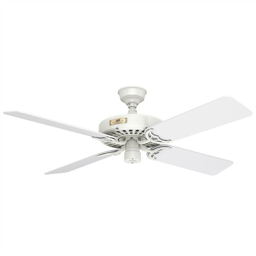 """Hunter Original 52"""" White with White Blades Outdoor Ceiling Fan"""