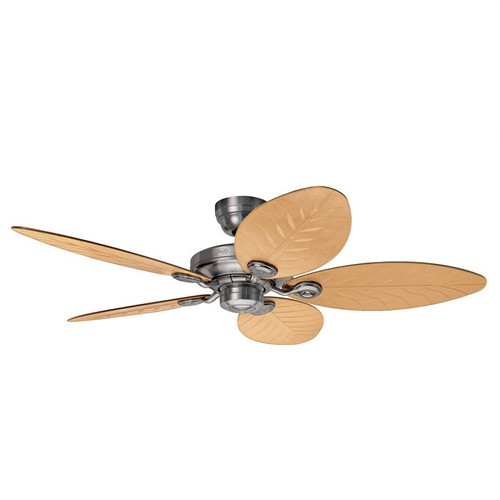 """Outdoor Elements II 54"""" Raw Aluminum with Natural Wicker Style Switch Blades Outdoor Ceiling Fan"""