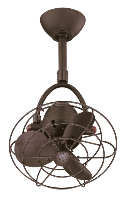 """Diane Oscillating 13"""" AC Textured Bronze Metal Blades and Decorative Cage Ceiling Fan"""