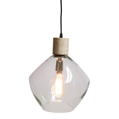 Classic White Wash Glass Wood Top Pendant Light
