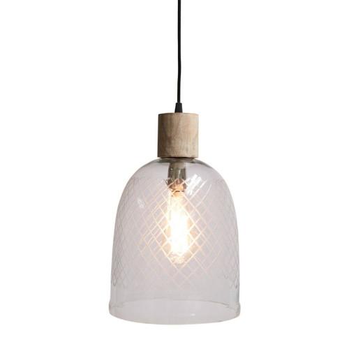 Belton Cut Glass White Wash Wood Top Pendant Light