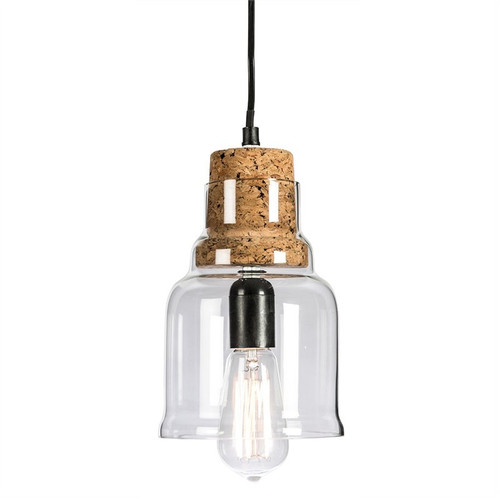 Haveri Bell Clear Glass with Cork Holder Pendant Light