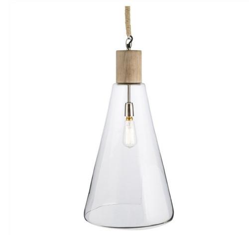 Flask Glass With Mango Wood Top Pendant Light