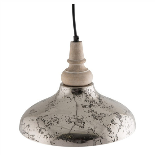 Small Iron Pendant Light with Wooden Top