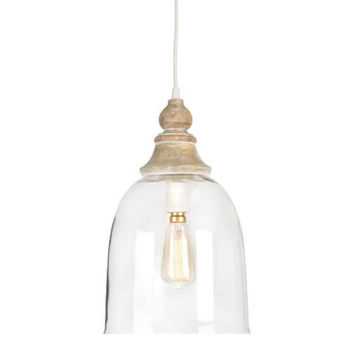 Hampton Bell Glass and Wood Pendant Light