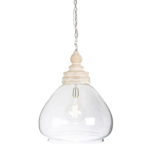 Hampton Dome Glass and Wood Pendant Light