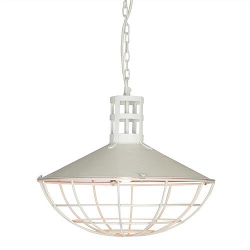 Dome Iron Caged Powder White Pendant Light