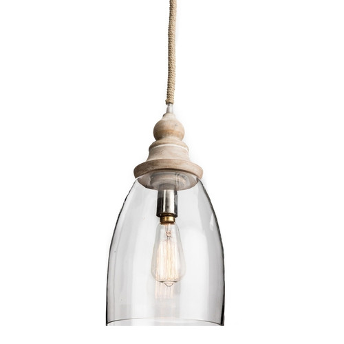 Small Bell Glass with Wood Finial Pendant Light