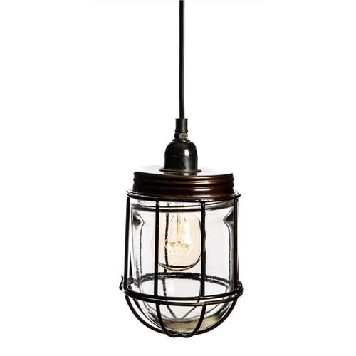 Robyn Caged Glass Jar Antique Bronze Vintage Pendant Light