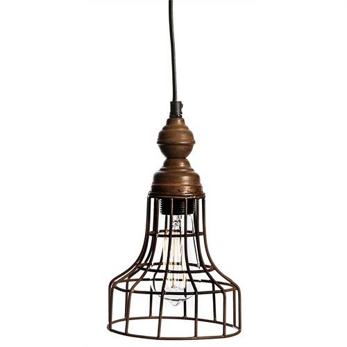 Wesley Iron and Burnt Wood Rustic Pendant Light