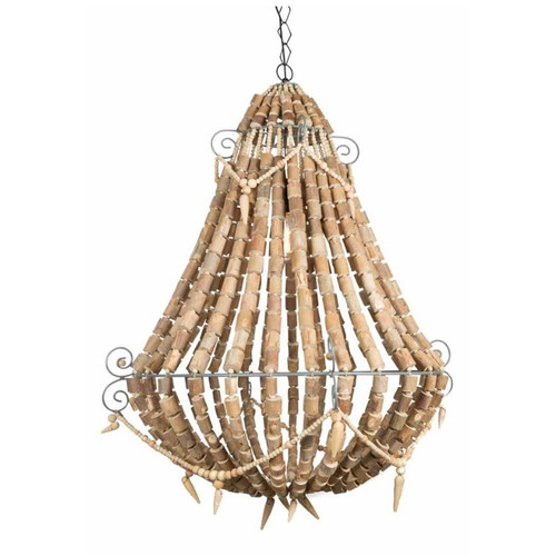 Cora Large Natural Wood Beaded Chandelier