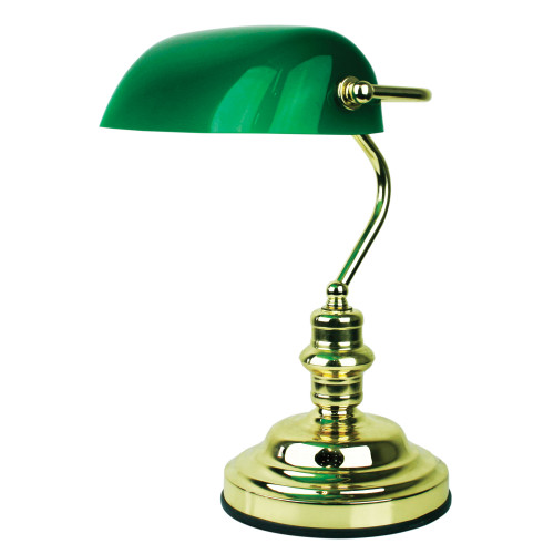 Bankers Polished Brass and Gloss Green Desk Lamp